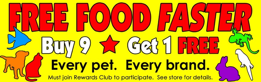 Free pet food at B&B Pet Stop