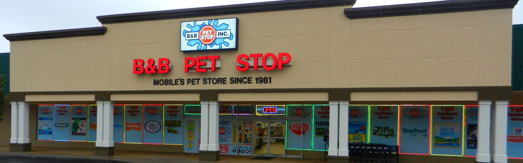 View of B&B Pet Stop store front